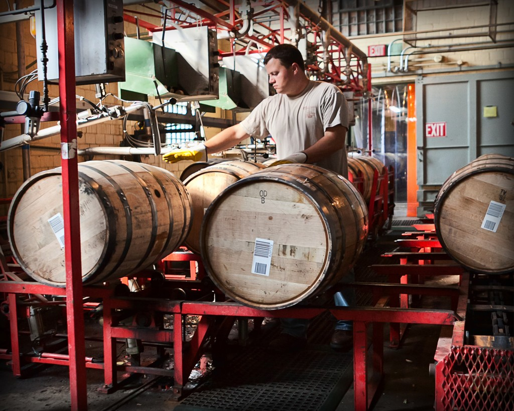 Tim Hudnall fills barrels at Buffalo Trace Distillery, which has tightly allocated many of its aged Bourbons.
