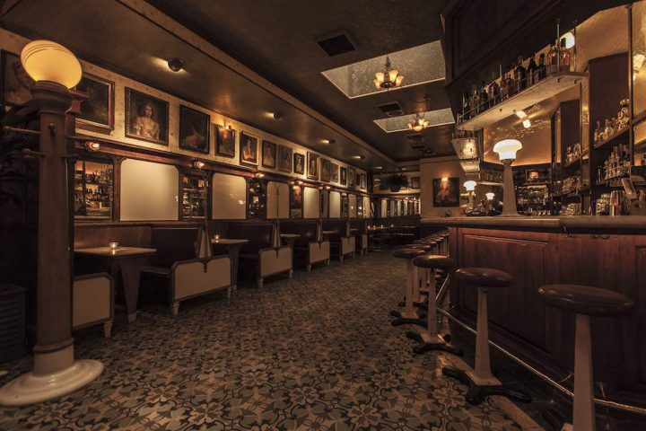 West Hollywood, California's Harlowe, which offers a spirits-heavy menu of craft cocktails, features a large circular bar, antique steel stools and a hand-painted mosaic tile floor.