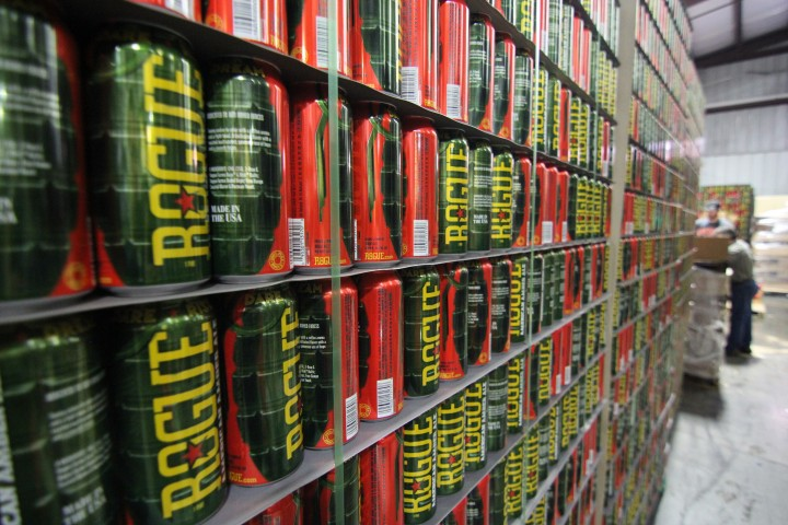 Rogue Ales released its American amber ale in 16-ounce grenade-style cans.