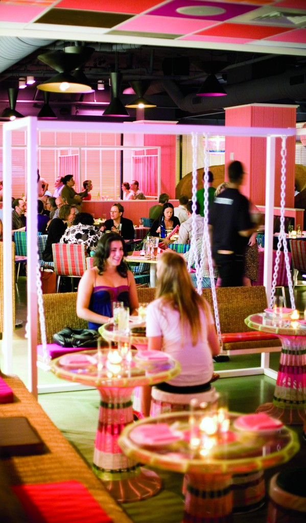 Distrito features a Mexico city theme, with Tequila and mezcal taking center stage in cocktails, alongside Mexican beers and Latin American wines.