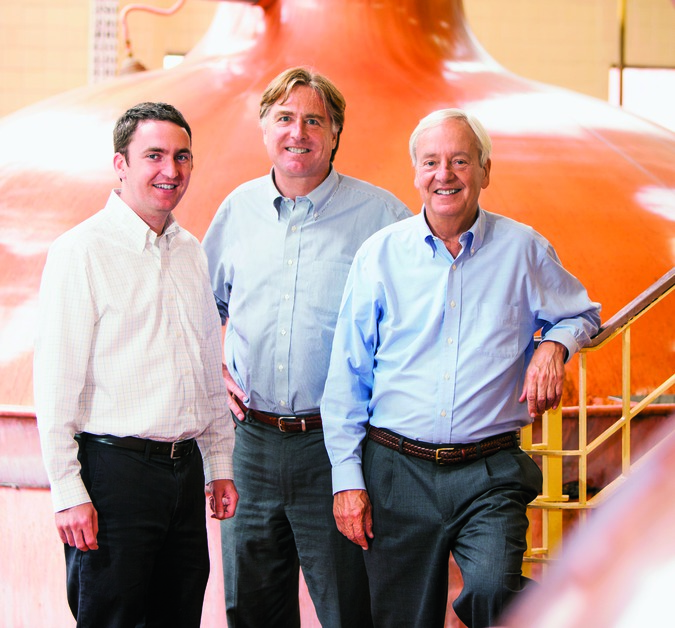 F.X. Matt is one of three 19th-century breweries in the United States that remains family-owned. Fred Matt (center) and Nick Matt (right) own the company. Nick's son, Nick R. Matt (left), recently joined the brewery.