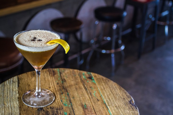 At Miami's Radio Bar, the 12AM Call Time eschews tropical flavors by blending Flor de Caña Grand Reserve 7-year-old rum with house-made espresso and toffee-peanut extracts and a citrus peel.