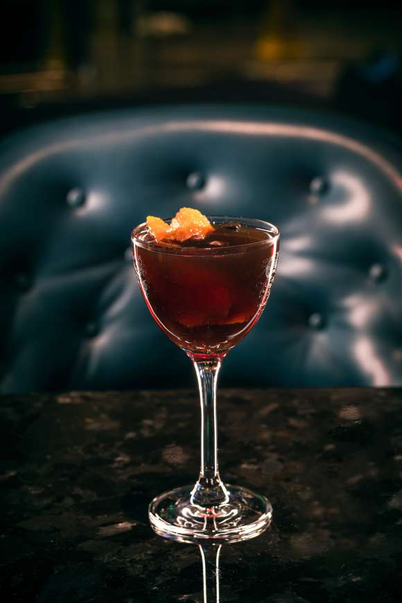 Cocktails made with American whiskey offer great diversity in flavors and styles. The Bright Eyed and Bushy Tailed at Las Vegas's Alibi includes coffee-infused rye, fortified wine, fernet liqueur and two types of bitters.