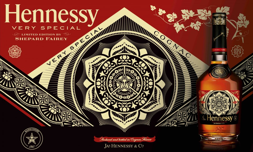 A limited-edition Hennessy V.S. Privilège series features labels designed by artists like Shepard Fairey.