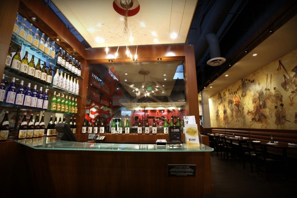Burbank, California–based Kabuki Restaurants (bar pictured) offer a host of sake options, including sake samplers and cocktails.