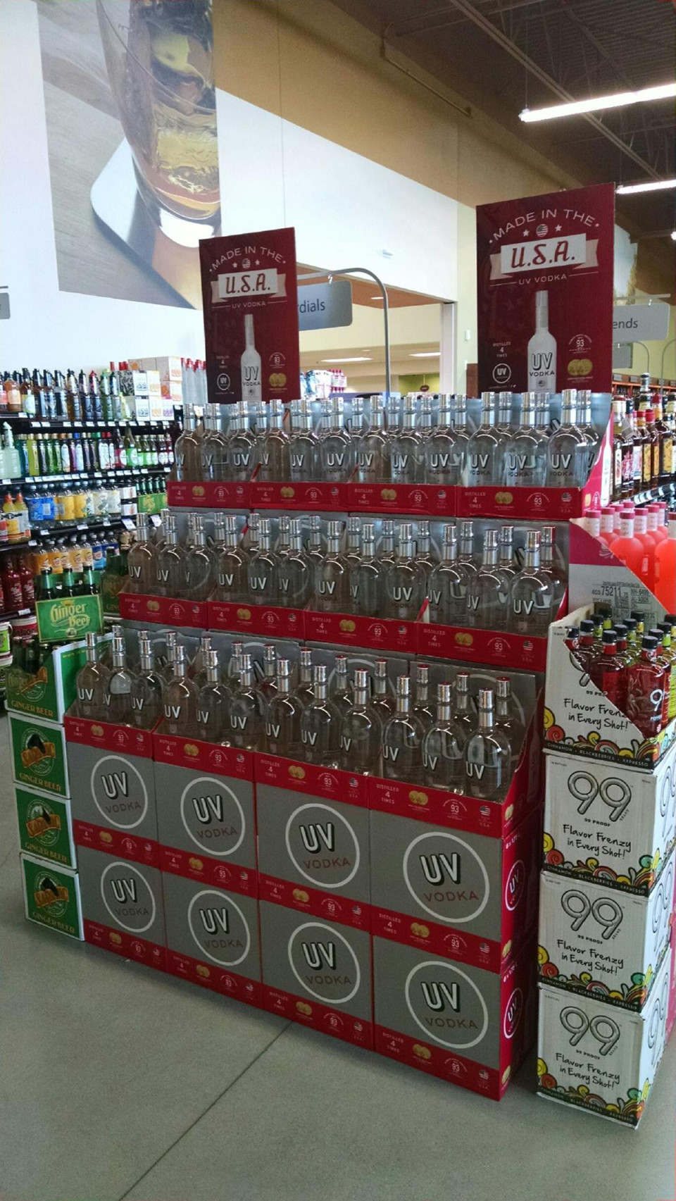 "UV vodka proudly touts that it's ""Made in the USA"" on in-store displays. The brand's strongest sales occur in the off-premise."