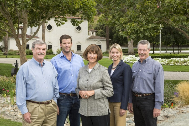 (FROM LEFT) Eric Wente, Karl Wente, Carolyn Wente, Christine Wente and Philip Wente are fourth- and fifth-generation winegrowers at Wente Vineyards, which has been making wine since the 19th century. The company focuses on authenticity, and its strong brand DNA appeals to a broad range of consumers, from baby boomers to millennials.