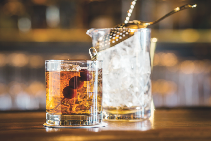 The GG Manhattan, Gerber Group's signature drink, is made with Woodford Reserve Bourbon, vermouth, bitters and cherries.