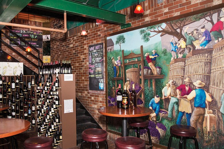 The Mesa, Arizona–based Sun Devil Liquors offers wine storage, as well as wine and beer tastings and private events in the downstairs Sun Devil Wine Cellar & Pub area (pictured).