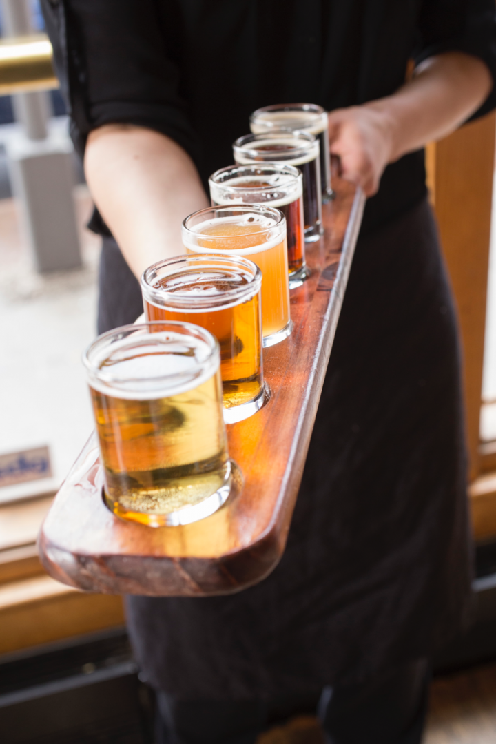 Barley's Brewing (flight pictured) has produced craft beer in Columbus for over two decades.