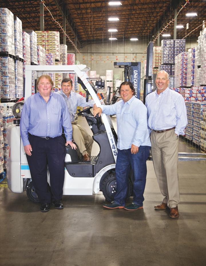 Portland, Oregon's Columbia Distributing Co. is led by (from left) CEO Gregg Christiansen, CFO Paul Meade, Washington market president Chris Steffanci and Oregon market president Mark Walen.