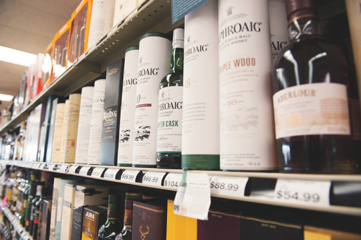 Spirits (Scotch whisky offerings pictured) account for 43 percent of overall sales at Cap n' Cork.