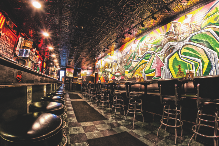 Stella's Lounge in Grand Rapids is a punk rock–themed bar that offers over 250 whiskies, as well as craft beer and cocktails.