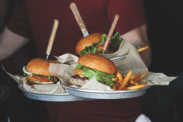 Upscale food items, such as the award-winning stuffed burgers at Stella's Lounge, play a key role in all of BarFly's concepts.
