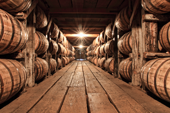 While production is at historic highs at Buffalo Trace (barrels pictured), allocations are tighter than ever as newer Bourbon continues to mature.