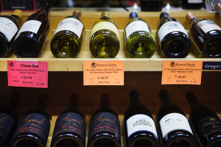 Wine comprises 30 percent of Brown Derby's sales, with 6,500 SKUs. Although the chain no longer offers Bordeaux futures, the stores highlight fine wines that are good values.