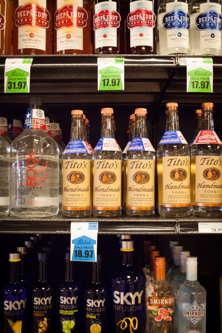 Spirits lead Pinkie's business, with Texas brands like Tito's Handmade vodka selling well.
