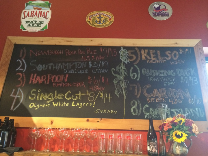 The most popular options for growler fills are local craft beers. Warwick, New York's Craft Beer Cellar (menu pictured) offers eight varieties.