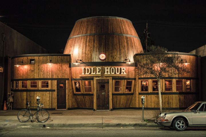 Paying homage to the programmatic architecture movement, the barrel-shaped Idle Hour offers draft cocktails and a large beer menu.