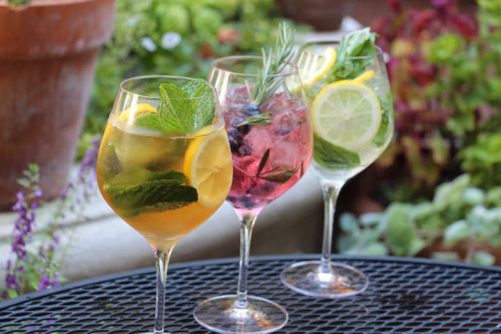 Spritzers like the Pimm and Proper (right), Blue Rose (center) and Jalapeño Basil (left) give consumers lower-alcohol options.