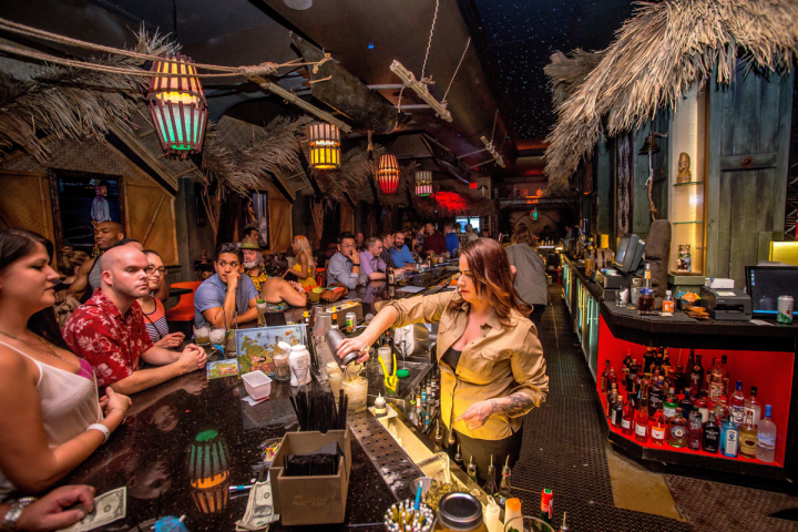 Located in the Chinatown area of Las Vegas, The Golden Tiki has an island-inspired interior with a drinks menu to match. The venue features personalized tableside cocktails.