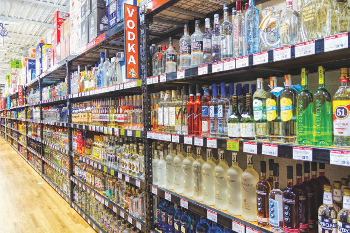 At Michael Berkoff's four Connecticut Bevmax retail outlets (Stamford location pictured), imported offerings account for over half of total vodka sales.