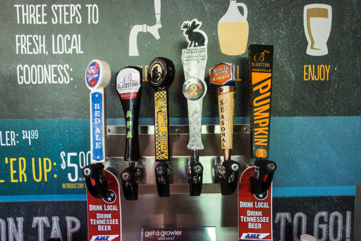 Mapco Express offers craft brews at most locations, with growlers available on draft at  20 units.