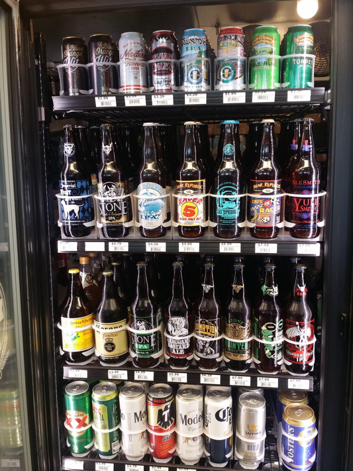 Costa Mesa, California's Plaza Chevron devotes three of its four coolers to craft beer. Single-serve cans and bottles do well.