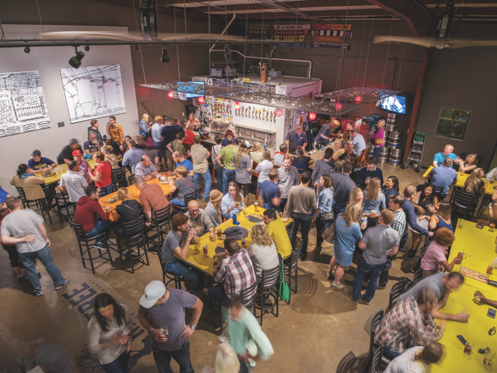 Cincinnati's MadTree Brewing allows guests to get up close with the beer-making process through its spacious, open taproom.