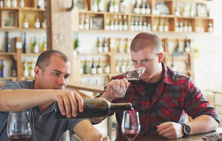 "Josh Phelps (left) and Carlo Trinchero (right), founders of Taken Wine Co., produce a range of wines made ""by millennials, for millennials."" Their labels place quality and taste over provenance."