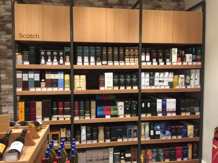 The newly opened Boston location of Gordon's Fine Wine & Spirits features 670 spirits SKUs, including around 200 Scotch whiskies (pictured).