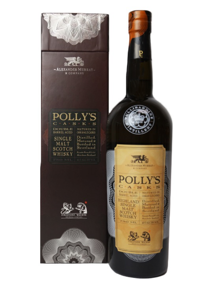 The new Polly's Casks brand features Tullibardine single malt Scotch whisky finished in Firestone Walker beer barrels.