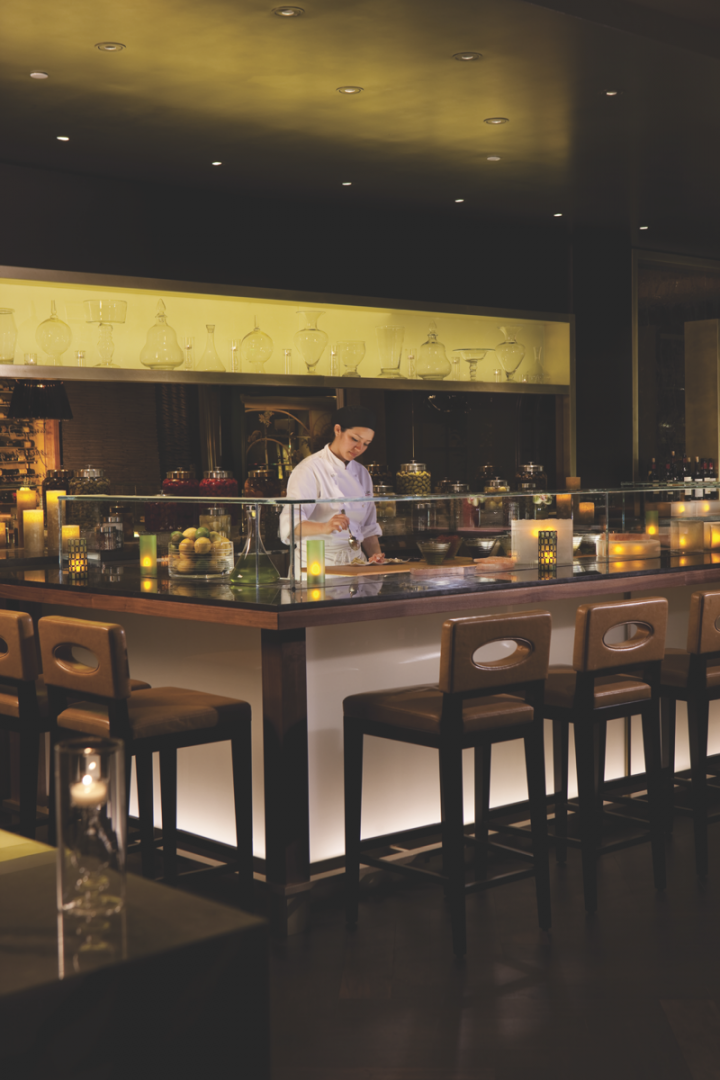 At the Four Seasons Los Angeles, the upscale Italian restaurant Culina has a cocktail- and wine-focused drinks menu.