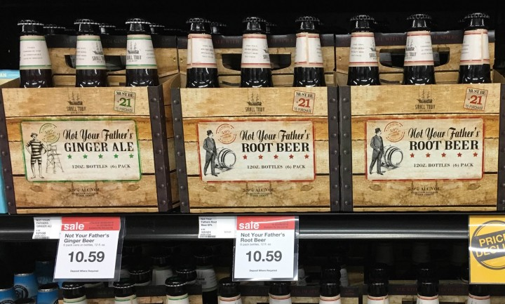 Consumers are flocking to hard sodas, and retailers like Hy-Vee (shelves pictured) have responded by stocking an ever-growing array of brands and flavors, though Not Your Father's Root Beer remains popular.