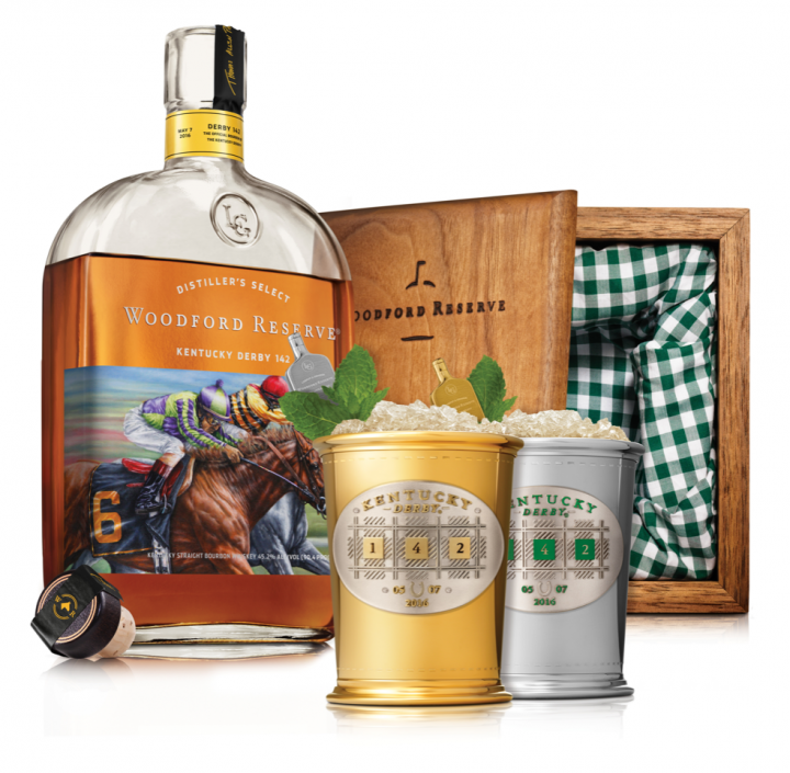 Woodford Reserve is honoring the 2016 Kentucky Derby with commemorative Mint Julep cups and a bottle features a painting by artist Thomas Allen Pauly.