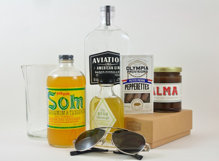 The Project 10 lineup features a mixing glass from Bull in China, drinking vinegar from Pok Pok, bitters from The Bitter Housewife, sunglasses from Shwood, sausages from Olympia Provisions and caramel sauce from Alma.