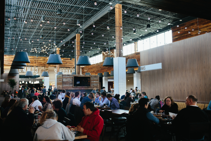 Food halls like Flagship Commons (pictured) in Omaha, Nebraska, have become trendy destinations for dining and drinking.