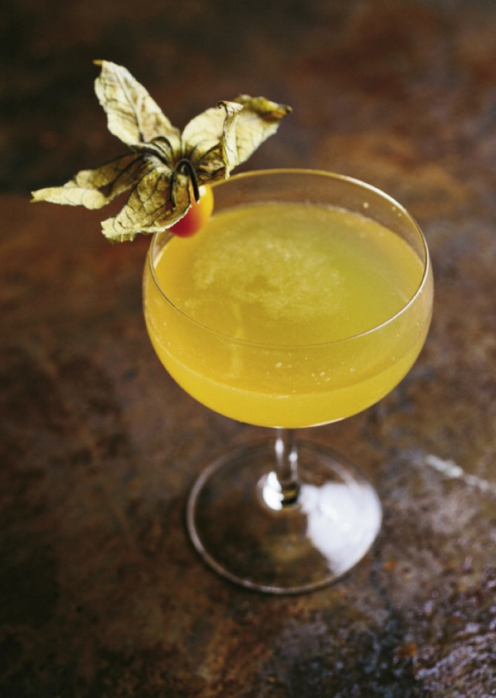 The Death Grip is wildly complex, blending gin, apricot and wormwood liqueurs, bitter aperitif, ginger, honey, lemon, gooseberries and bitters.