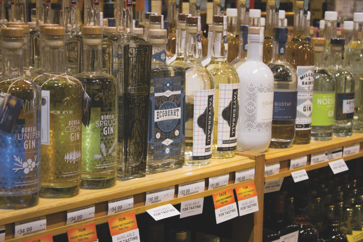 The gin category overall has declined, but retailers like France 44 Wine and Spirits in Minneapolis (display pictured above) say craft brands are growing fast.
