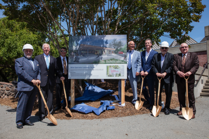(from left) Sonoma State University (SSU) president Ruben Armiñana, U.S. Representative Mike Thompson, SSU dean William Silver, Wine Business Institute president Ray Johnson, California Lt. Gov. Gavin Newsom, Marvin R. Shanken and Korbel owner Gary Heck broke ground on the Wine Spectator Learning Center at Sonoma State University on June 1<sup>st</sup>.