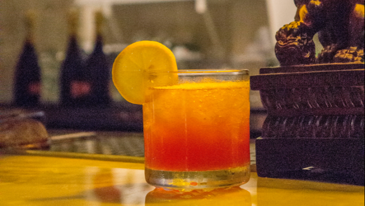 Peking Tavern's Wong Chiu Punch features Red Star baijiu, Fruitlab Hibiscus Organic liqueur, lemon juice and simple syrup.