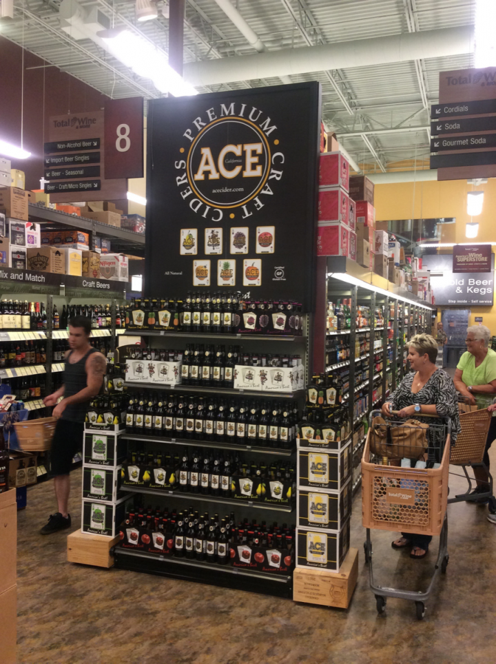 Total Wine & More (Redondo Beach, California, location pictured) displays Ace Cider, a smaller producer that offers flavors beyond apple.