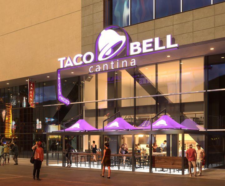 In addition to the regular menu, Taco Bell Cantina (Las Vegas rendering pictured) offers exclusive food items and a range of beer, wine and hard slushies.