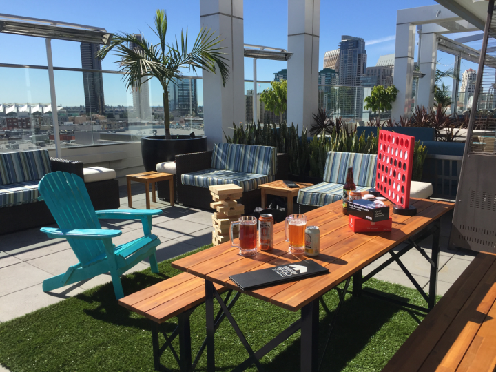 Rooftops and parking lots are being transformed into temporary beer venues during warmer weather. The Andaz Hotel in San Diego runs a beer garden on its roof from February through July, offering beer, snacks and skyline views.