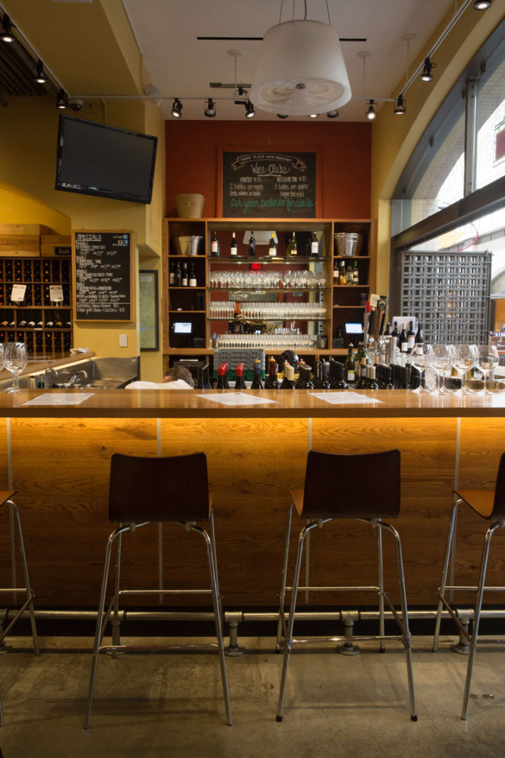 Ferry Plaza's wine bar has 30 to 40 selections that rotate weekly.