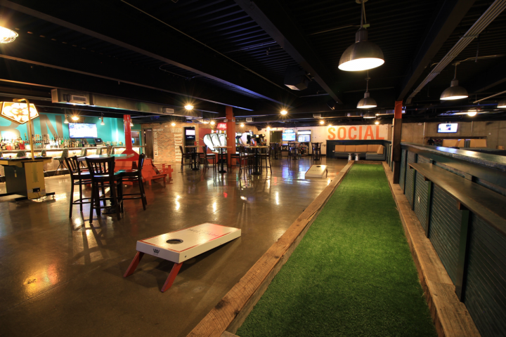 Entertainment features heavily at every venue, with games like corn hole, bocce and Skee-Ball, as well as an arcade and bowling alley.