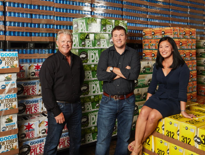 Hand Family Cos. estimates that Lakeshore Beverage is Chicago's largest distributor. from left: Regional vice president for Illinois Mike Flynn, president and CEO J.R. Hand, and Lakeshore Beverage director of marketing Wei Fraser lead the unit.
