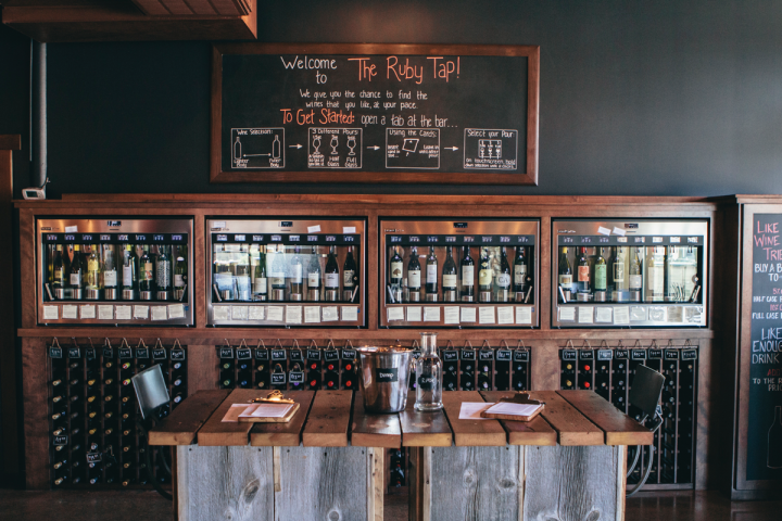 The Ruby Tap (Wauwatosa, Wisconsin, unit pictured) offers wines in three preset sizes. Customers can use a prepaid option when sampling or go for an open tab, using a card to track their pours.