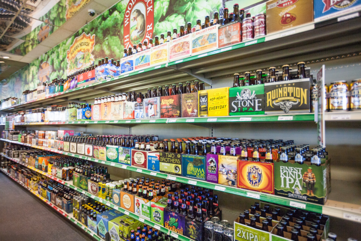 Beer is the volume leader at Cork Liquors, accounting for 45 percent of sales. Out-of-town customers often seek out local craft brands, which the stores merchandise prominently.