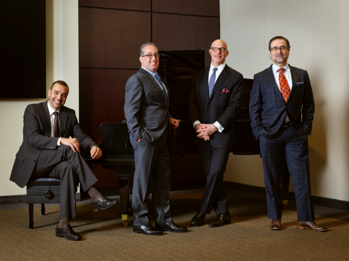 The Esprit du Vin leadership team includes (from left) Badr Benabdessadek, Marc Taub, Matthew Green and Pascal Salvadori. The company operates independently from Palm Bay International.
